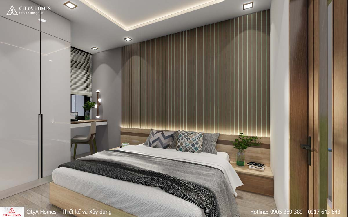 Mẫu phòng ngủ kết hợp phòng làm việc tiện lợi