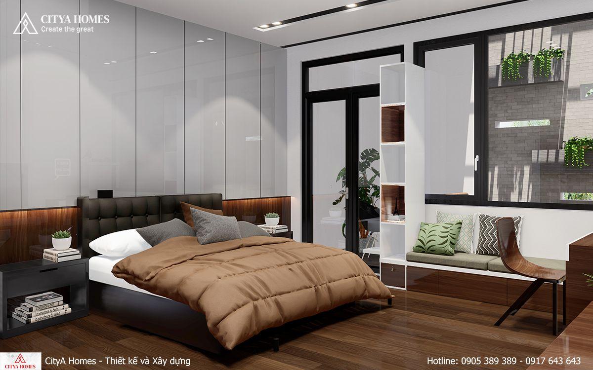 Mẫu phòng ngủ kết hợp với không gian làm việc