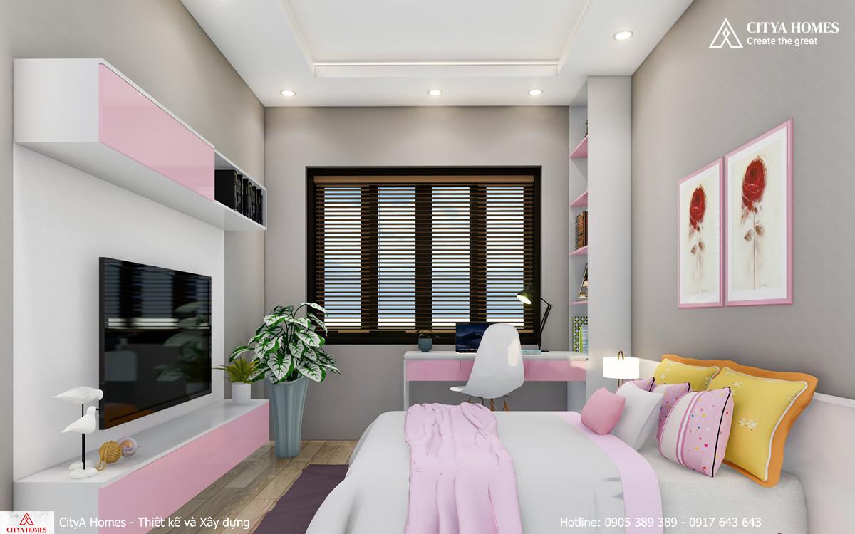 Mẫu phòng ngủ màu hồng dễ thương