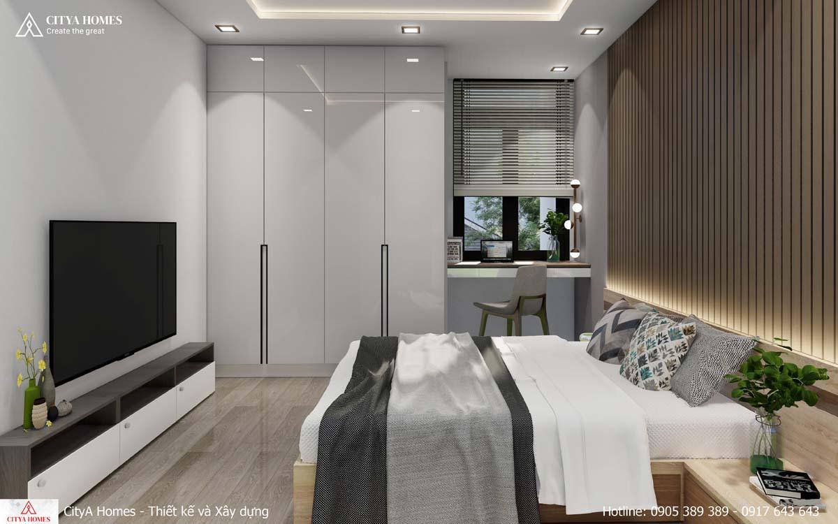 Mẫu phòng ngủ tone trắng xám, đẹp hiện đại