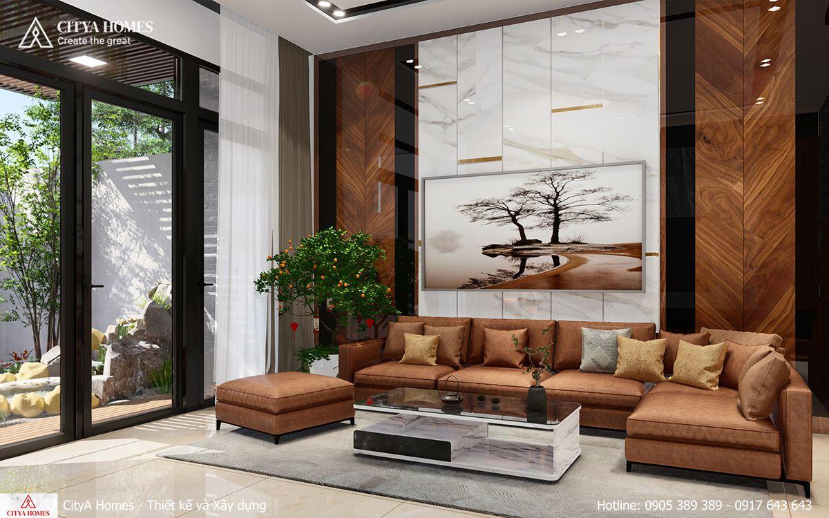 Mẫu thiết kế phòng khách tone màu gỗ