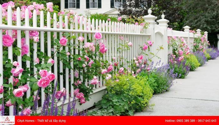 Mẫu tường rào gam trắng tinh tế