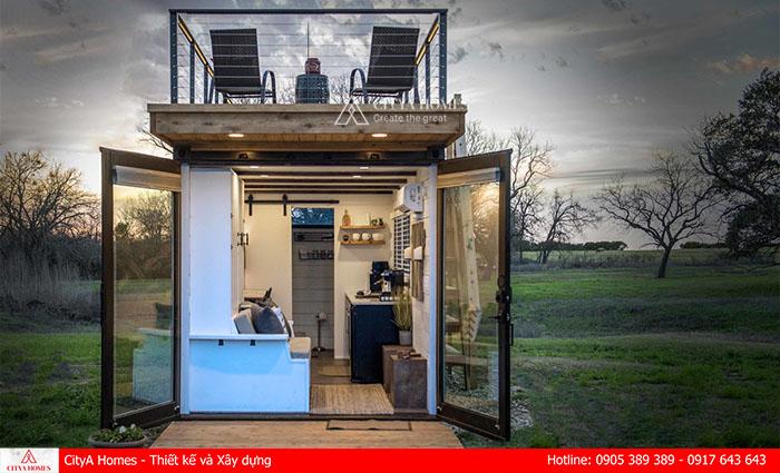 """Nhà container một tầng tận dụng phần mái làm không gian """"chill"""""""