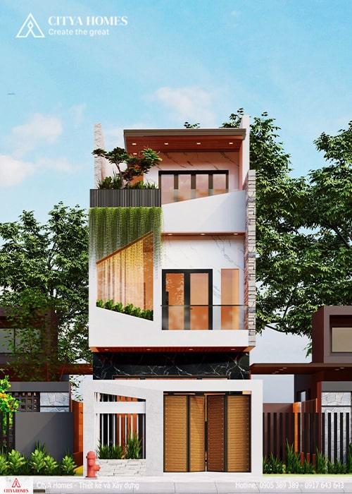 Mẫu thiết kế mặt tiền nhà phố 2 tầng 1 tum đẹp