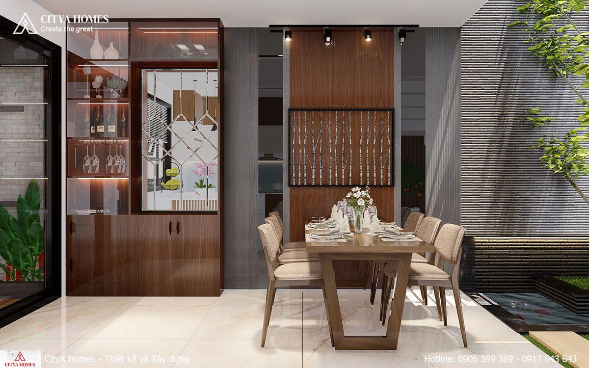 Nội thất gỗ cũng được đưa vào các thiết kế tại phòng bếp