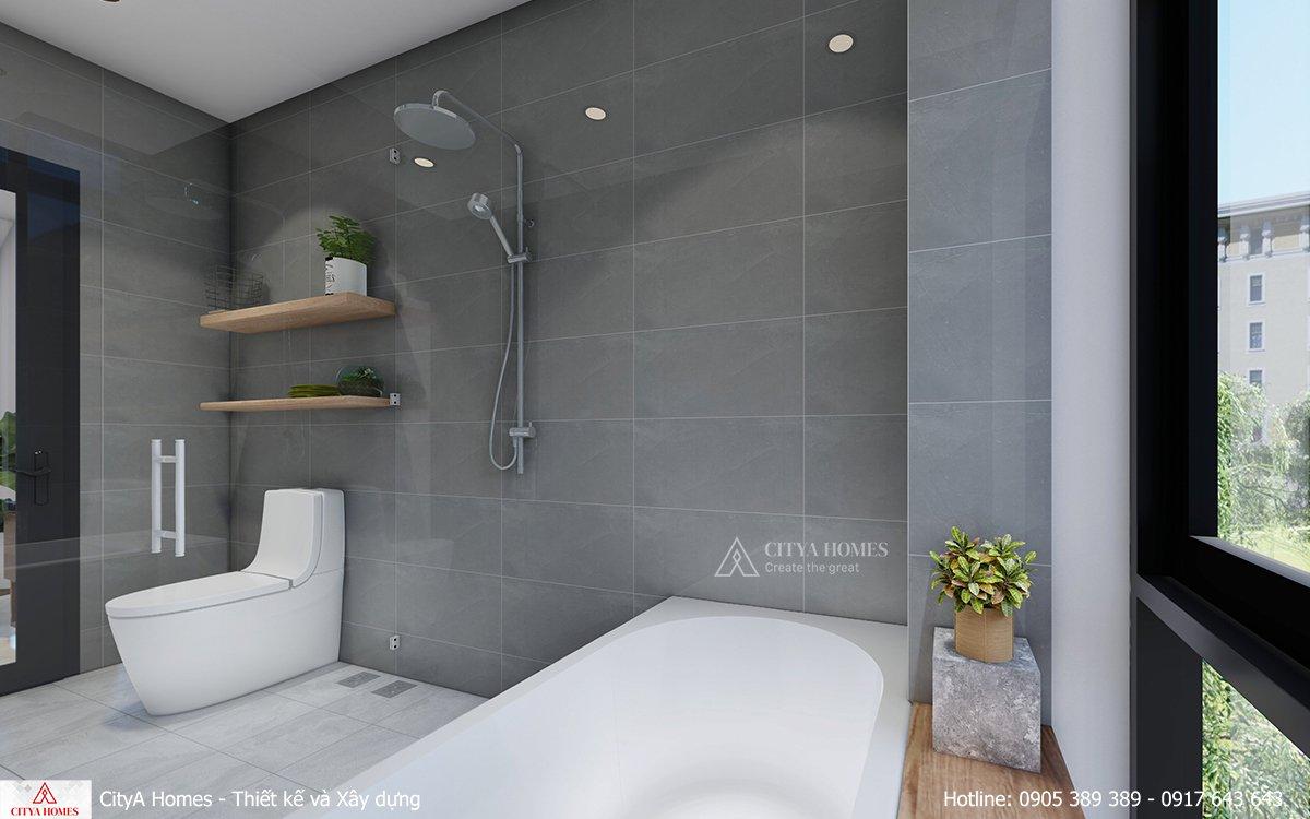 Nội thất phòng tắm được thiết kế tối giản nhưng rất tinh tế