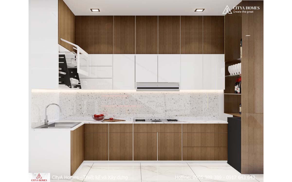Phòng bếp đẹp, đơn giản, không kém phần tiện nghi