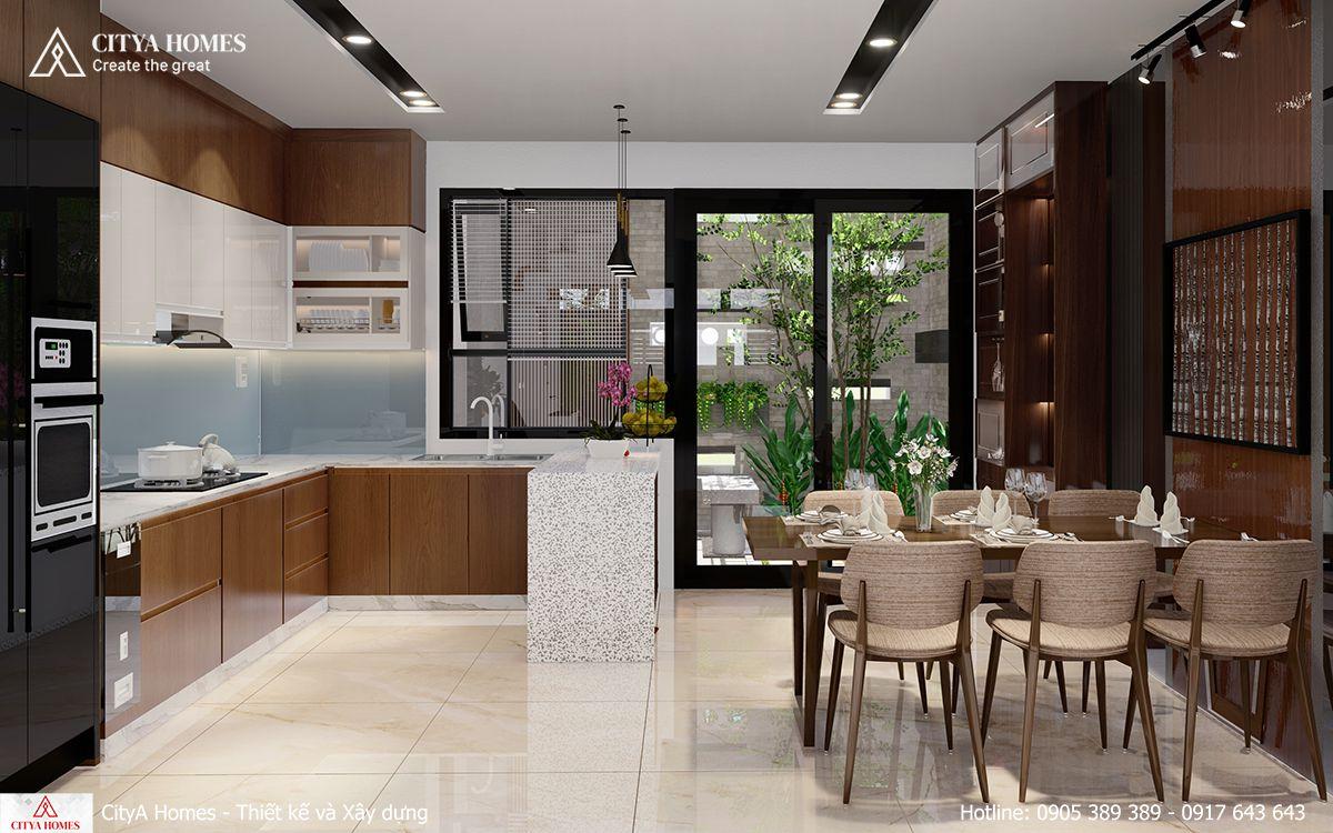 Phòng bếp được bố trí nhìn ra hướng có không gian xanh