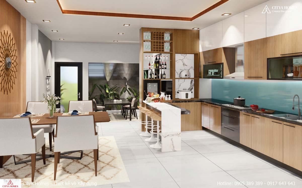 Phòng bếp được thiết kế quầy bar ở giữa