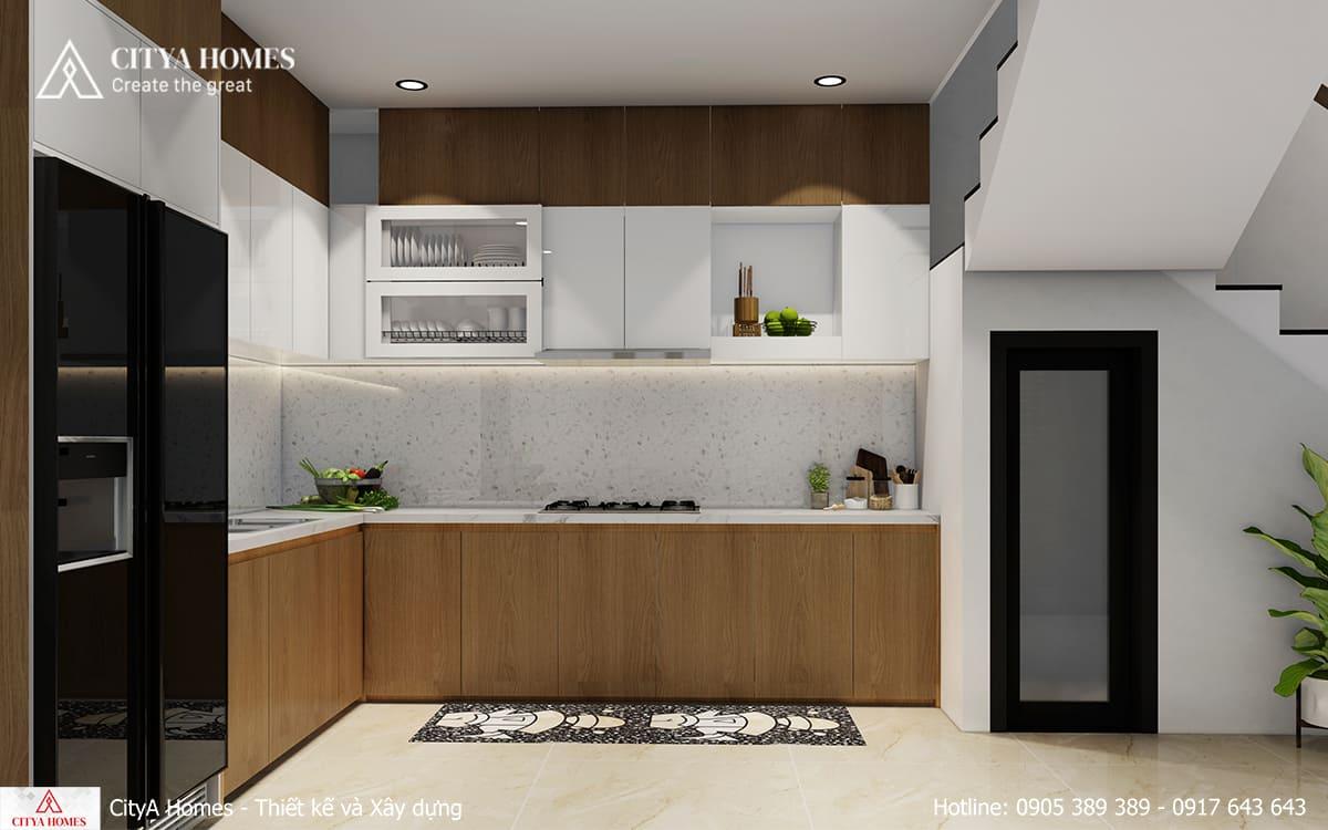Phòng bếp mang màu sắc dịu nhẹ với đá thạch anh xám trắng