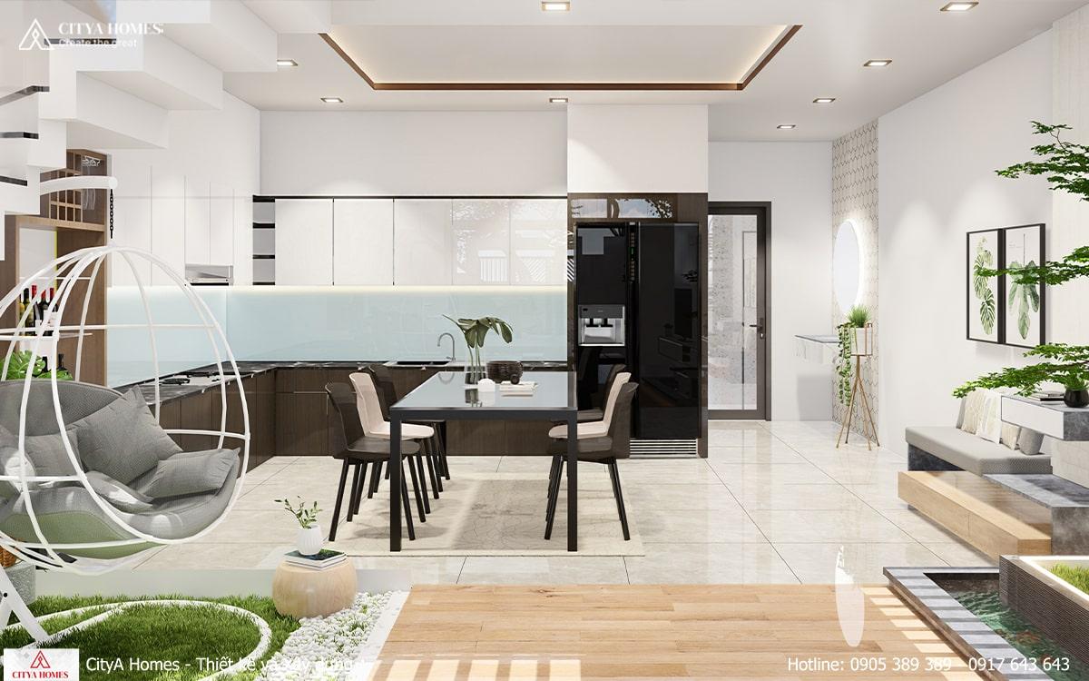 Phòng bếp rộng và thoáng nhờ bố trí nội thất hợp lý
