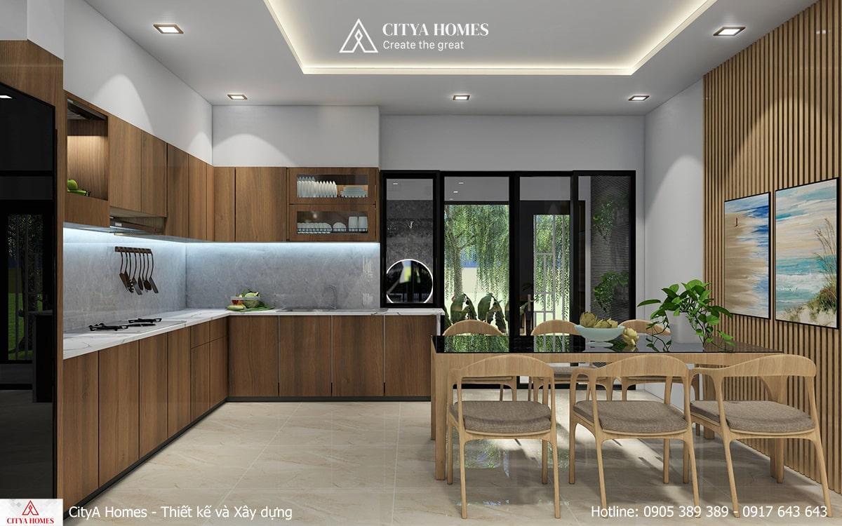 Phòng bếp rộng với nội thất gỗ màu sáng