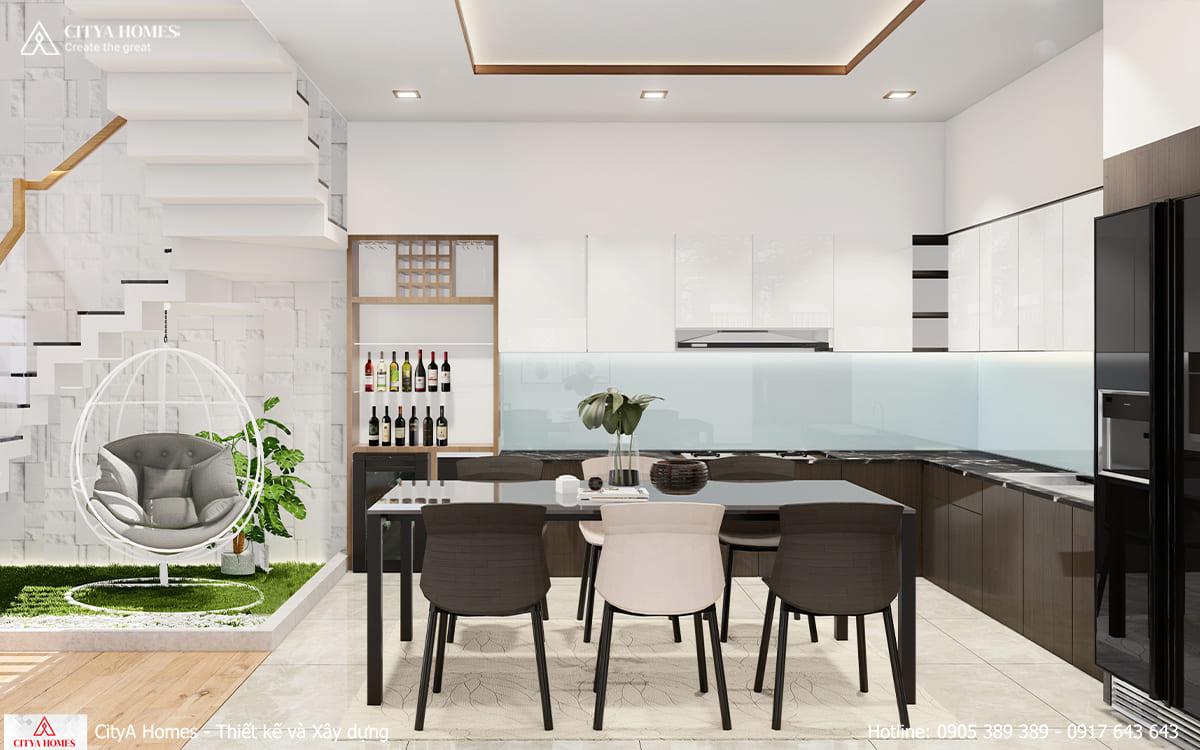 Phòng bếp tiện nghi và tối giản