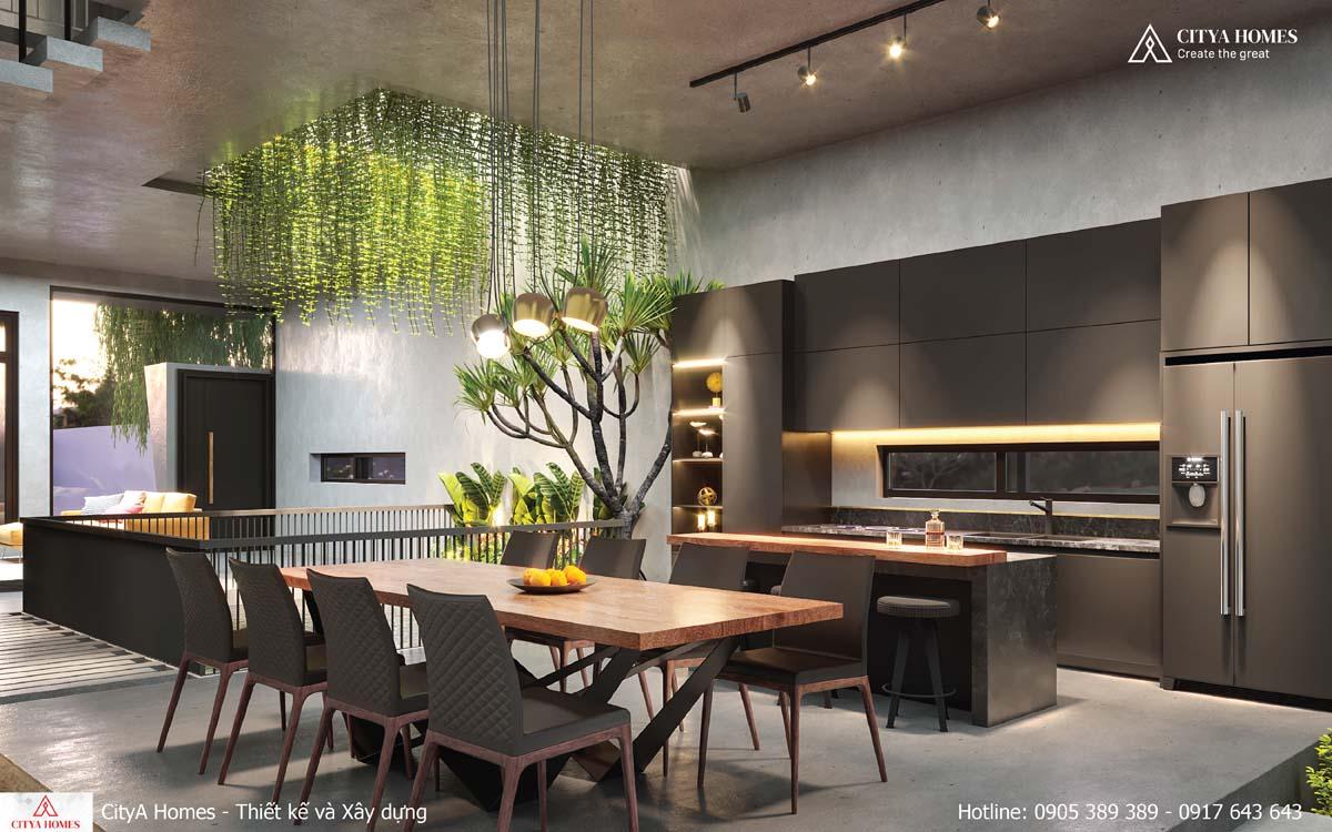 Phòng bếp tràn ngập ánh sáng nhờ hệ giếng trời đặt ở bên trên