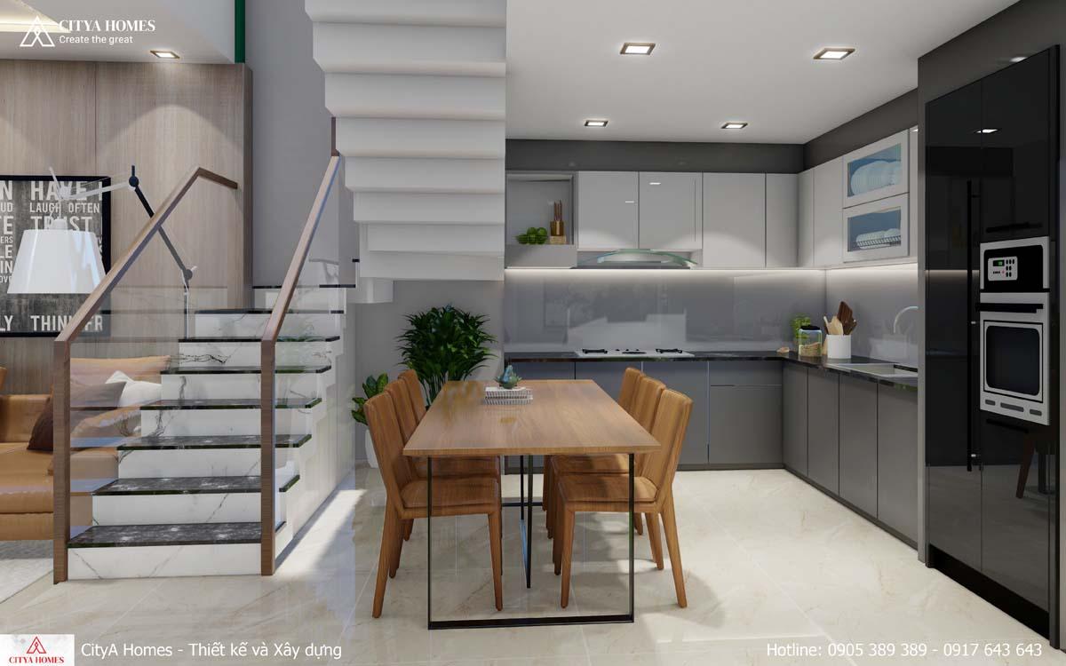 Phòng bếp với nội thất bài trí đơn giản, tinh tế