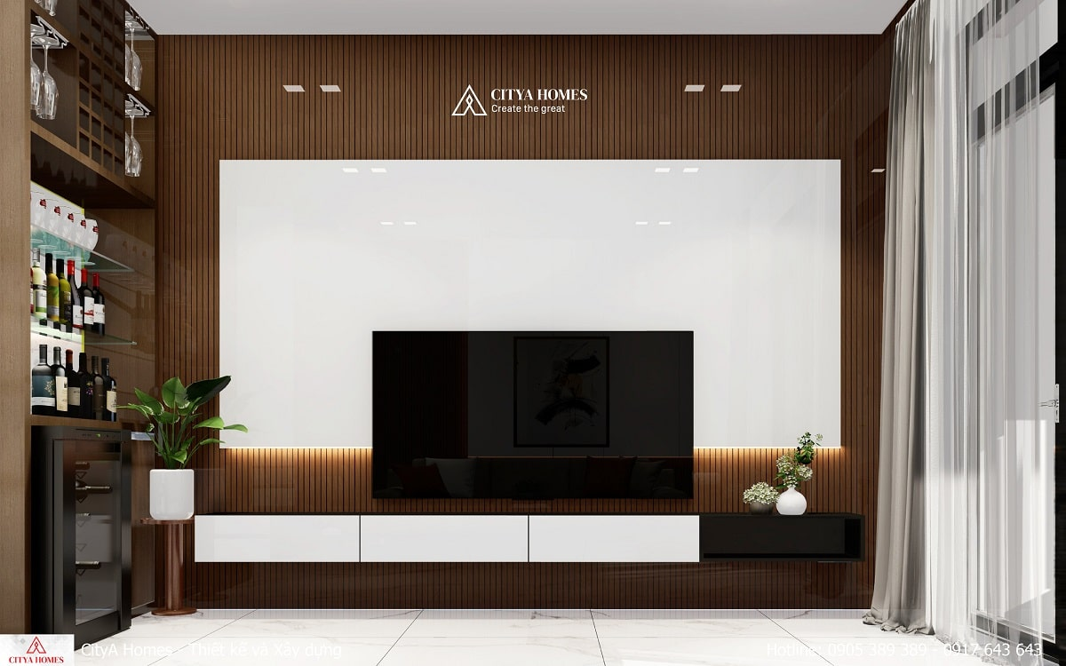 Phòng khách được trang trí đơn giản tinh tế