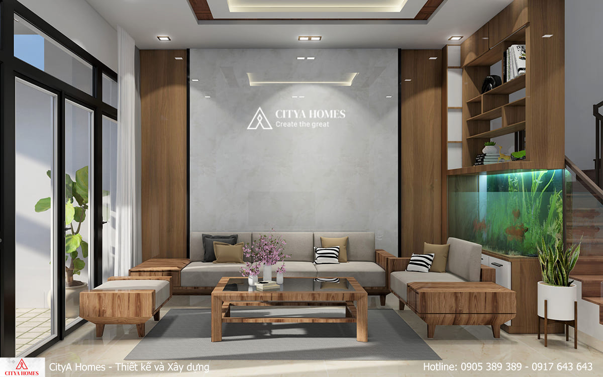 Phòng khách hiện đại với sự xuất hiện của bể cá cảnh