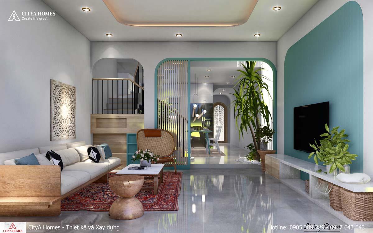 Phòng khách kết hợp tiểu cảnh không gian xanh