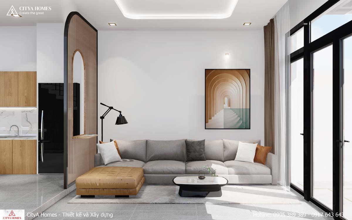 Phòng khách nhỏ gọn với bộ sofa hiện đại