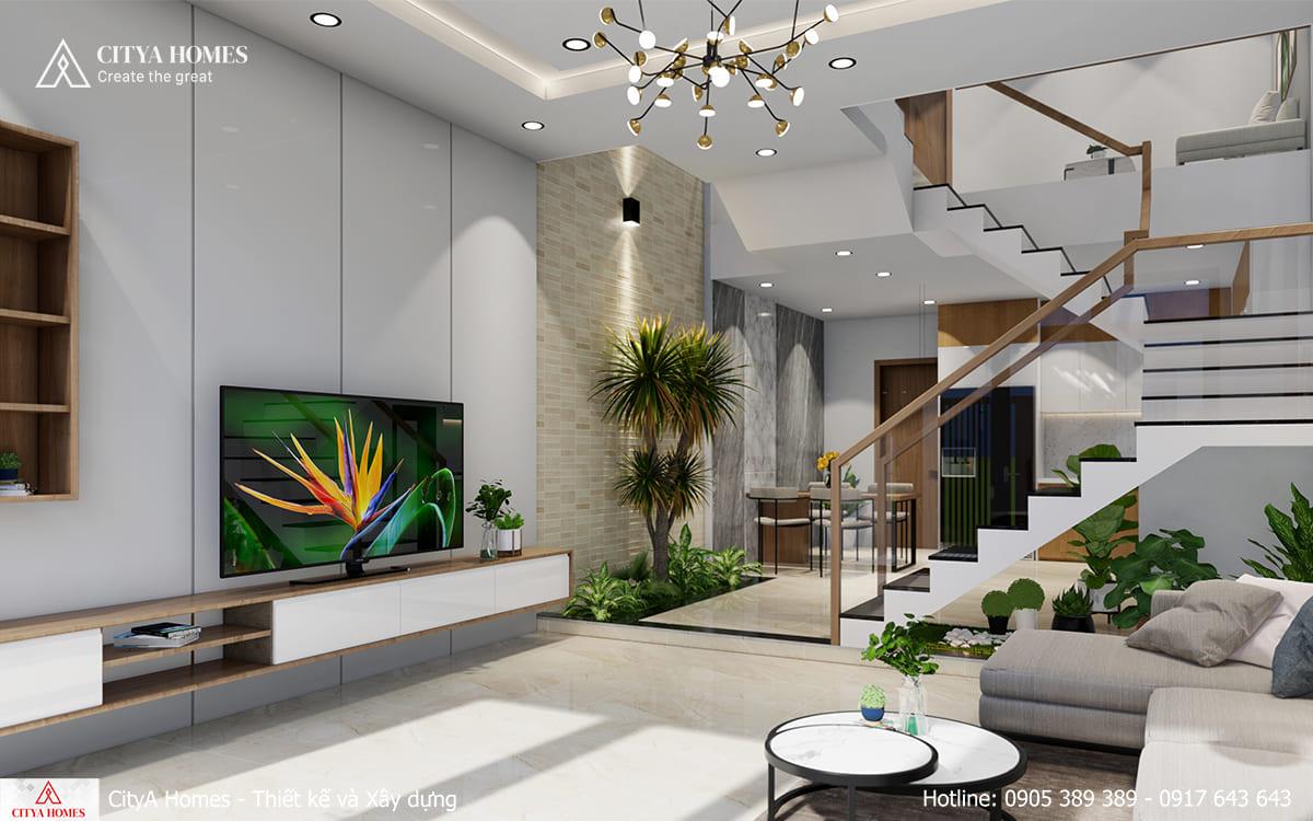 Phòng khách rộng và thoáng nhờ thiết kế thông minh