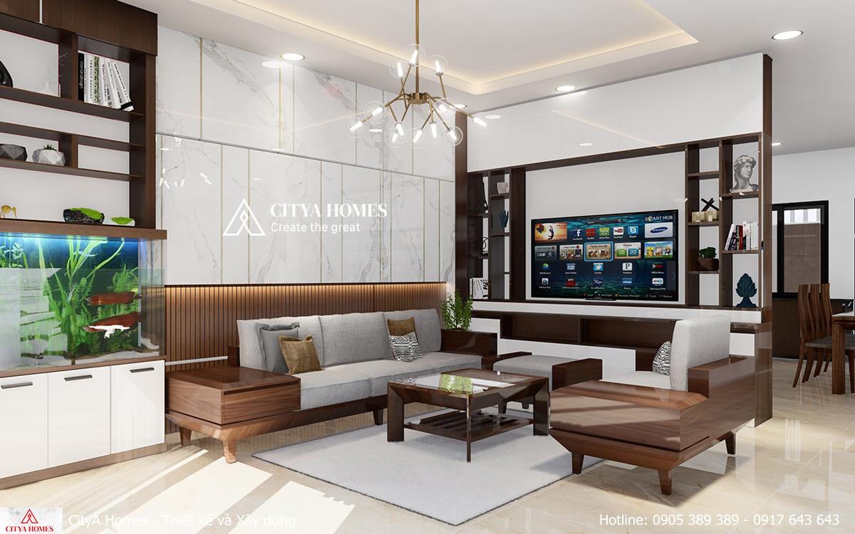 Phòng khách siêu rộng với lối bố trí nội thất sáng tạo