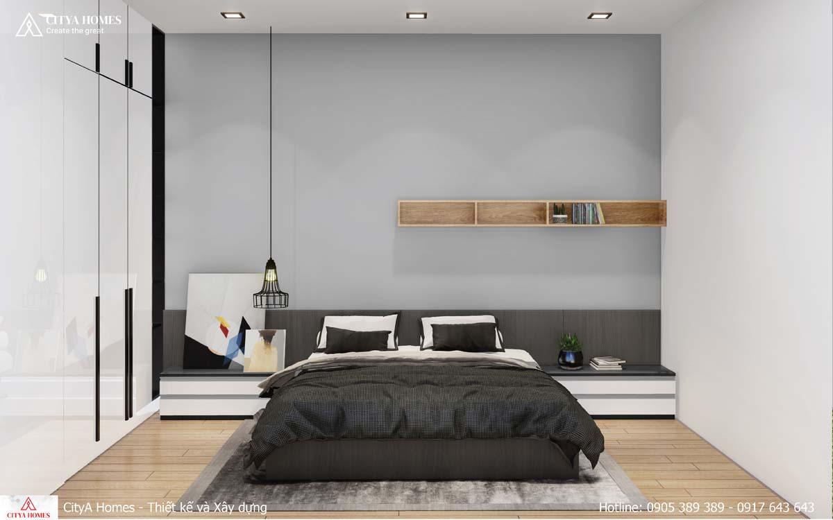 Phòng ngủ bố trí đơn giản, thoải mái