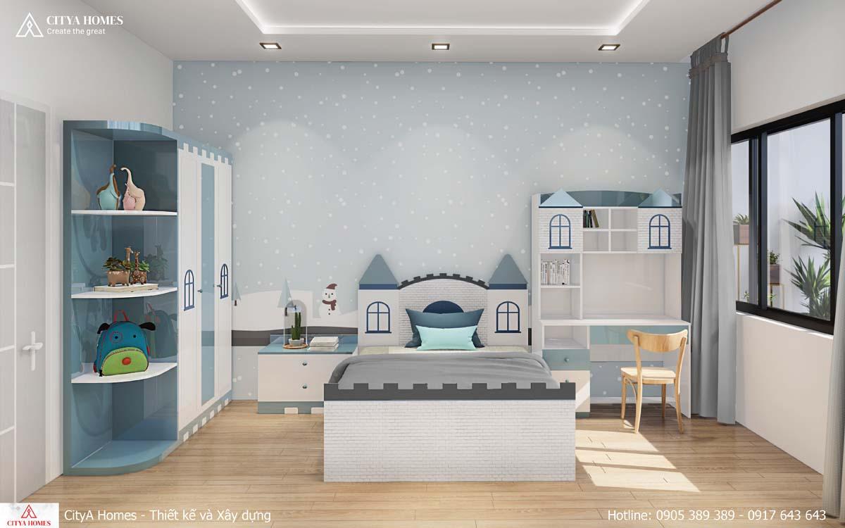 Phòng ngủ cho bé êm ái, có thể tạo thành sân chơi độc đáo