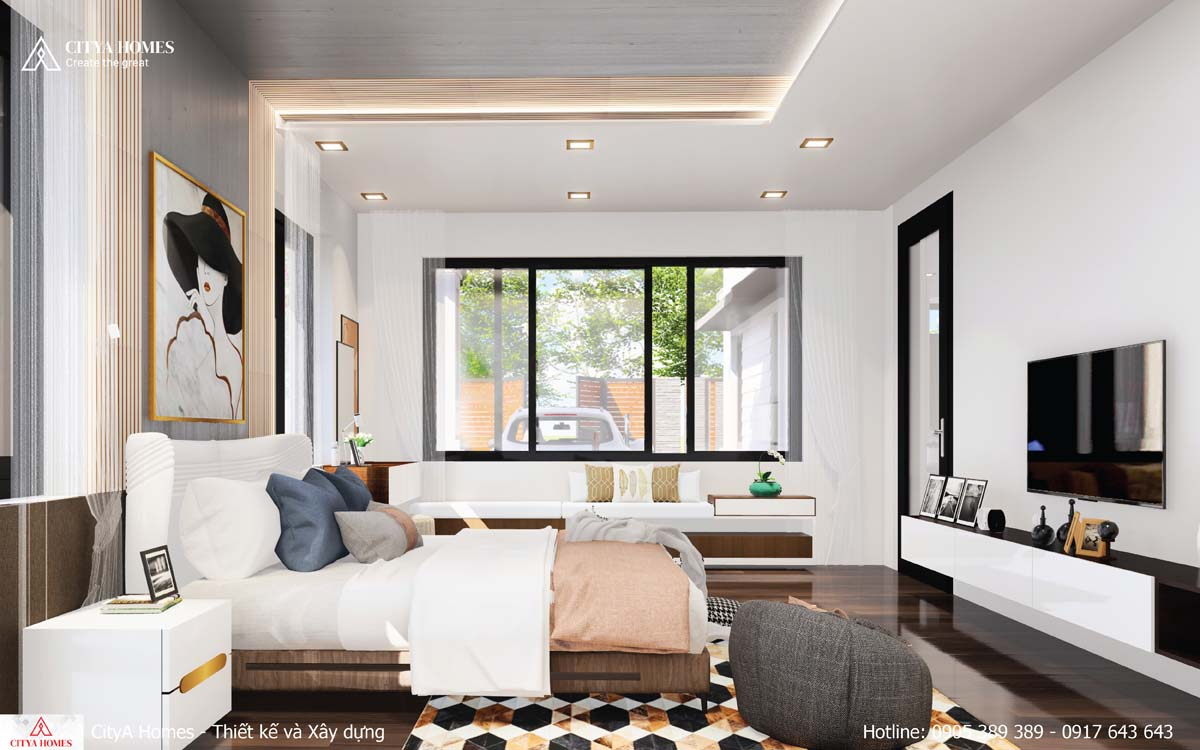 Phòng ngủ có cửa sổ lấy sáng cho toàn bộ căn phòng