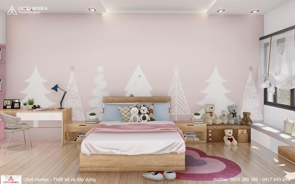 Phòng ngủ dành cho bé gái được bố trí thoáng và rộng