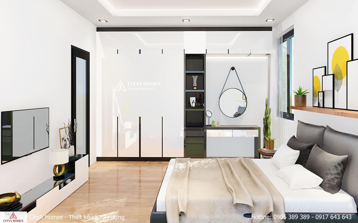 Phòng ngủ đẹp tiện nghi với cách phối màu nhẹ nhàng, cách sắp xếp nội thất khoa học