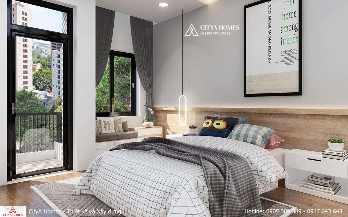 Phòng ngủ được bố trí gọn gàng, sạch sẽ