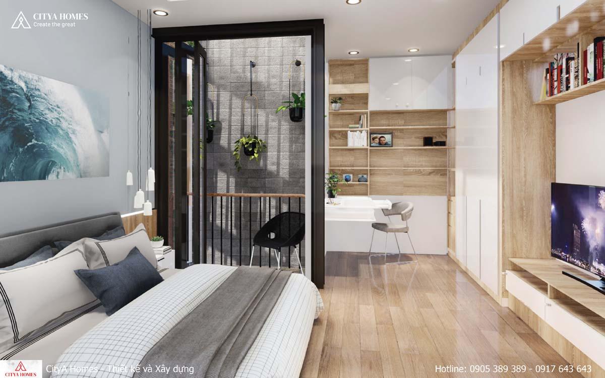 Phòng ngủ được lấy sáng tự nhiên từ thông tầng