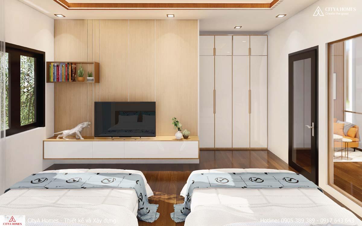 Phòng ngủ được thiết kế giường đôi