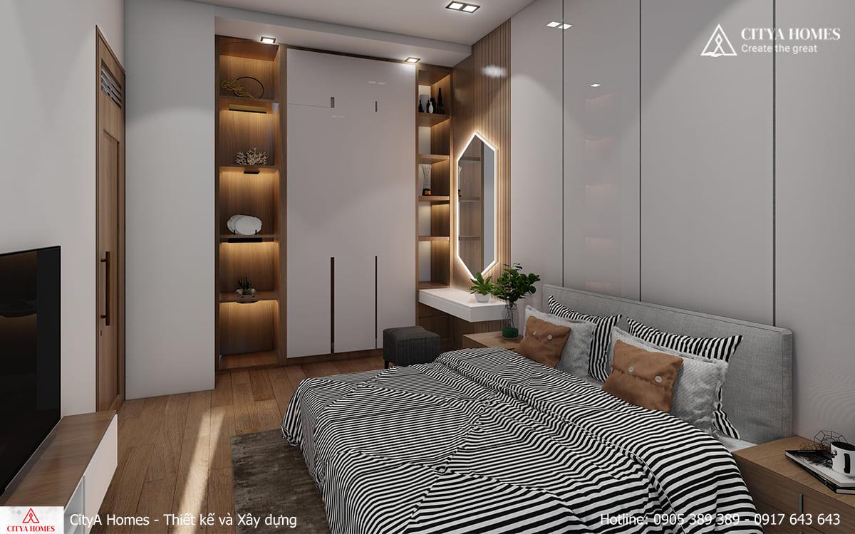 Phòng ngủ được thiết kế nổi bật nhờ bàn trang điểm theo phong cách mới