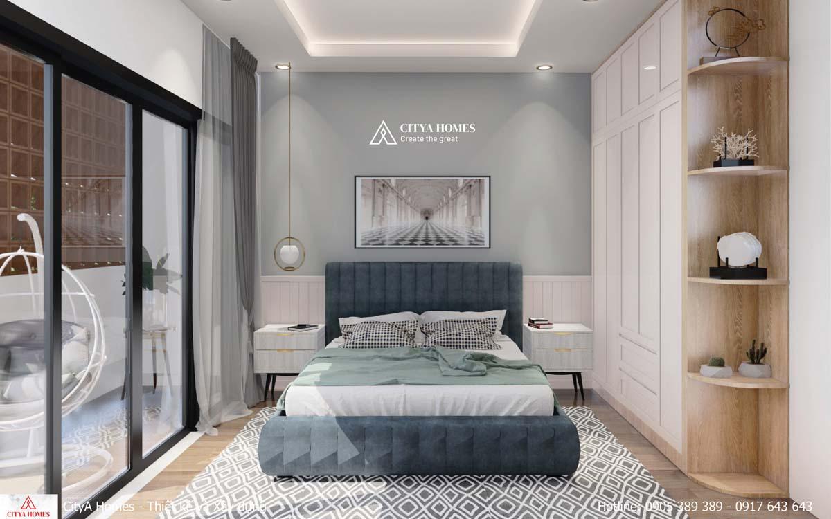 Phòng ngủ được thiết kế theo phong cách tối giản hiện đại
