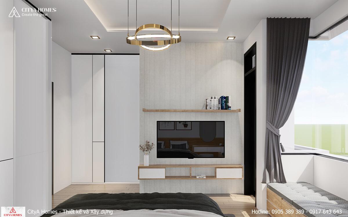 Phòng ngủ được thiết kế tiện nghi, gọn gàng