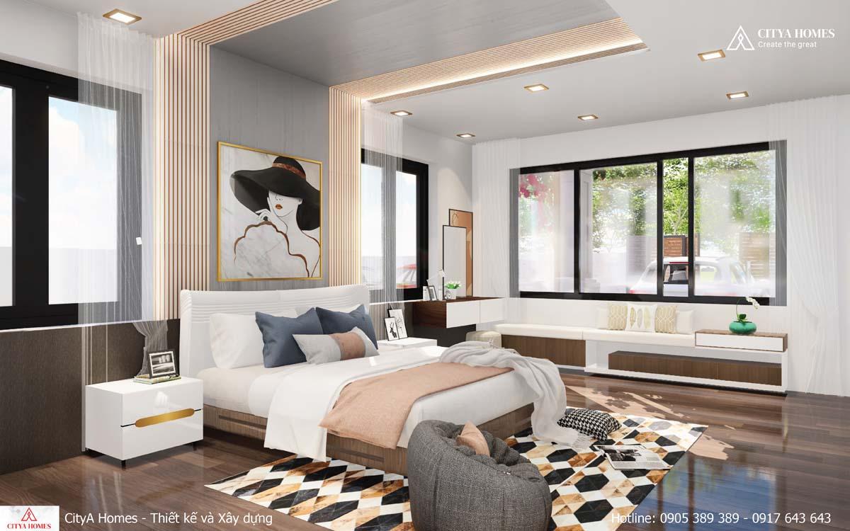 Phòng ngủ được thiết kế với gam màu nhẹ nhàng tinh tế