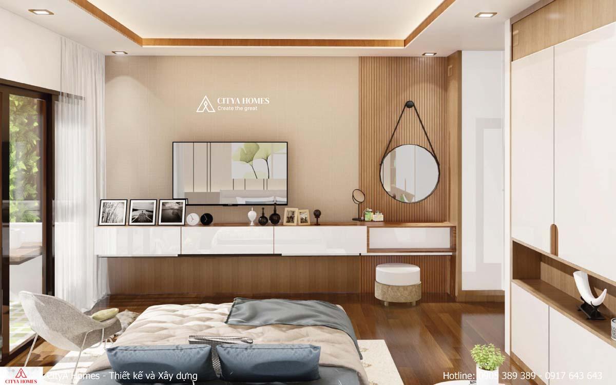 Phòng ngủ được trang trí tone màu nhã nhặn tinh tế