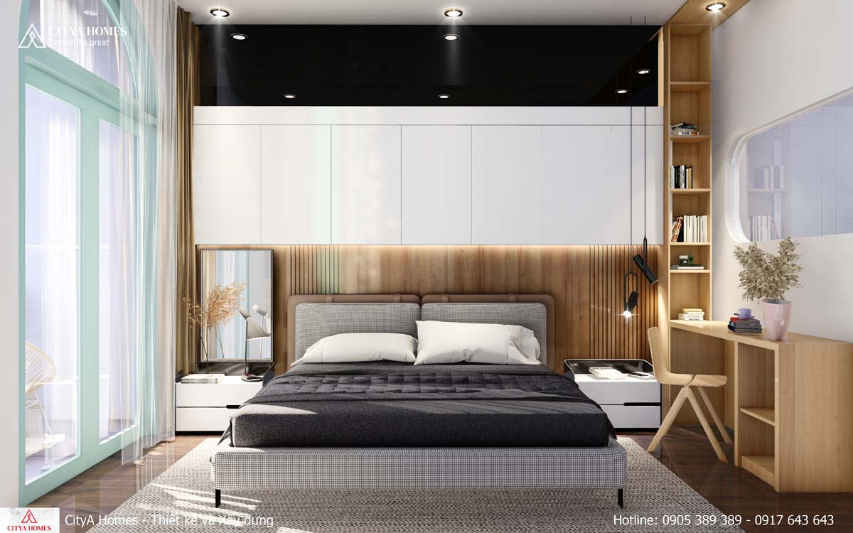 Phòng ngủ master có ban công tháng đãng
