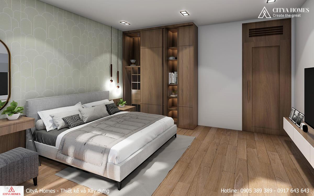 Phòng ngủ Master được bố trí tối giản, gọn gàng