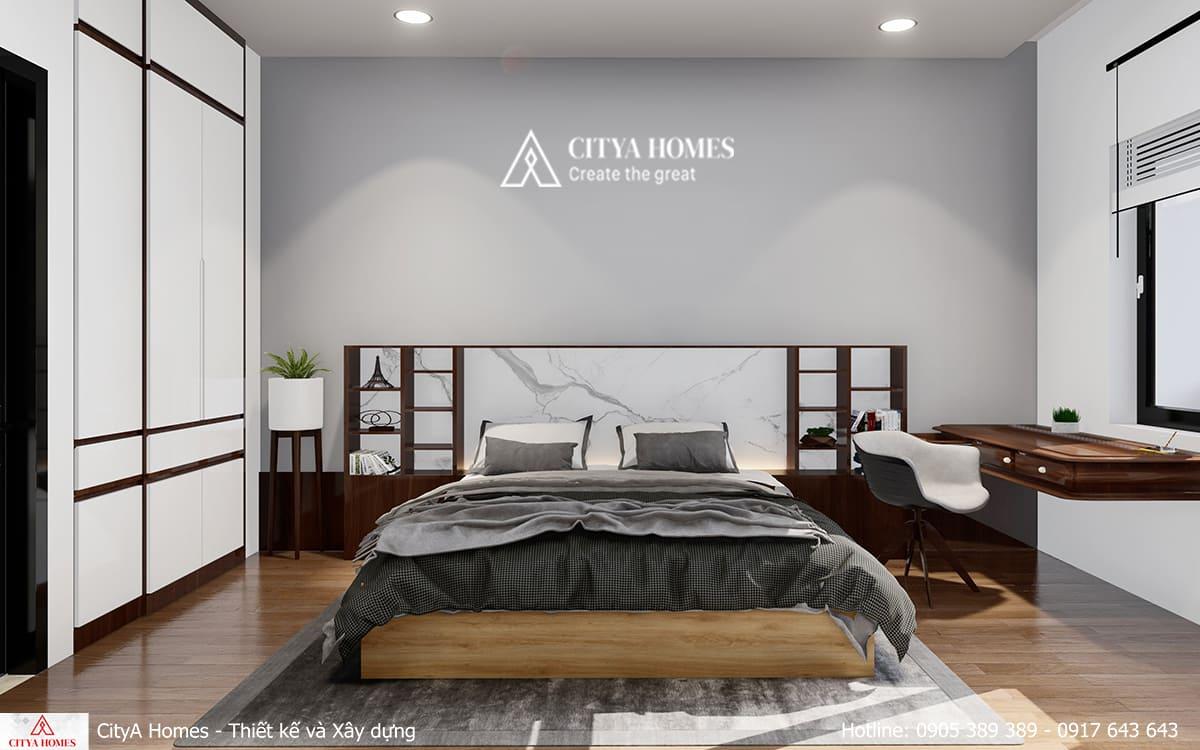 Phòng ngủ master mang màu sắc cổ xưa xen lẫn hiện đại