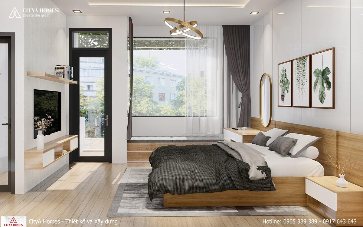Phòng ngủ master rộng rãi với bộ nội thất tinh tế