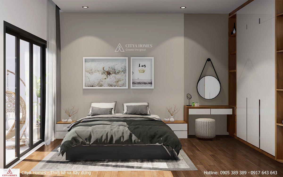 Phòng ngủ master rộng rãi với thiết kế nội thất hiện đại