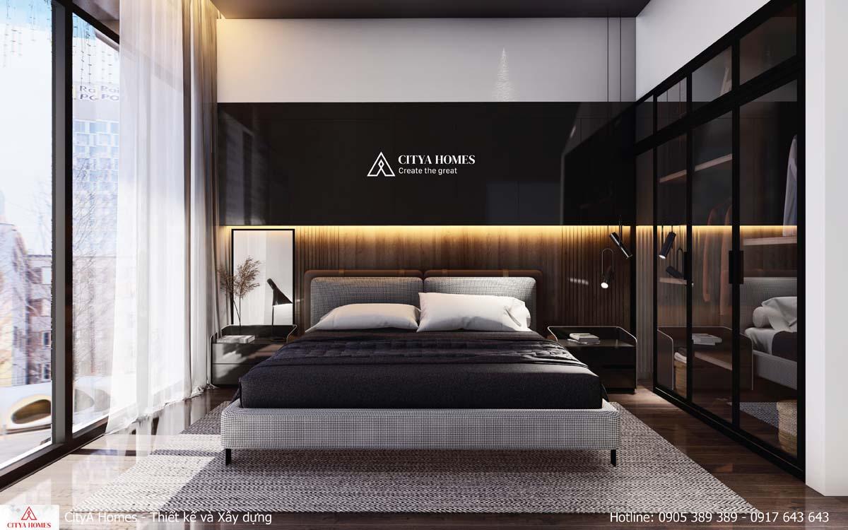 Phòng ngủ master rộng, thoáng cùng cửa kính lớn lấy sáng tối đa