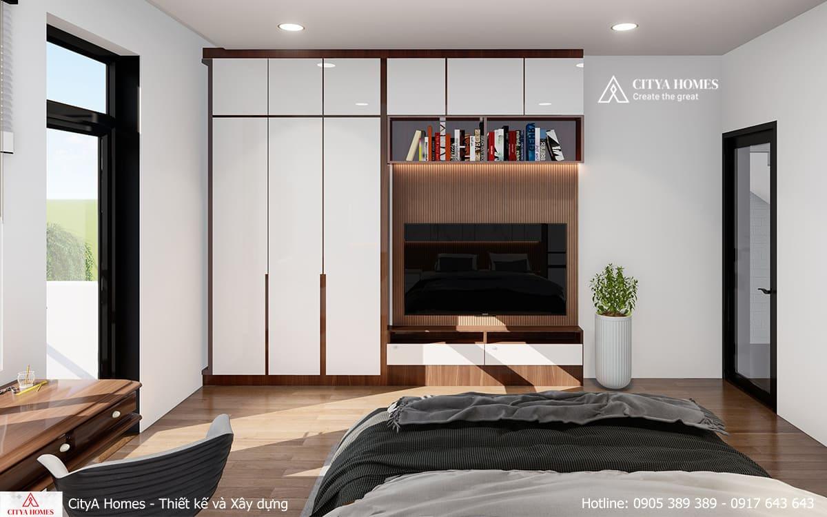 Phòng ngủ master với thiết kể tủ âm tường để tăng diện tích sử dụng
