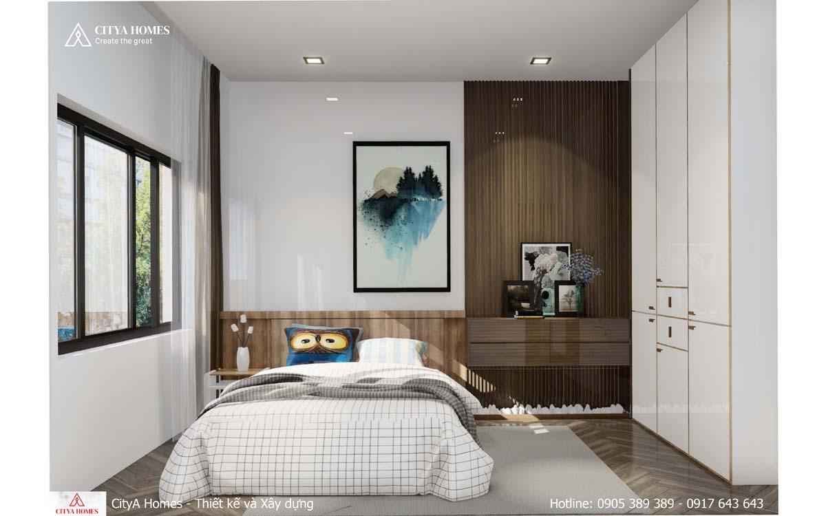 Phòng ngủ phá cách với lam gỗ công nghiệp