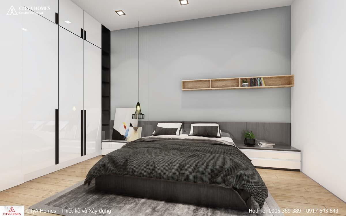 Phòng ngủ rộng rãi với gam màu đen trắng