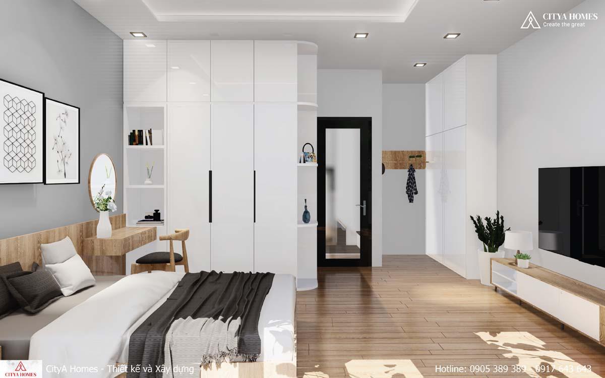 Phòng ngủ tone màu đen trắng nhẹ nhàng