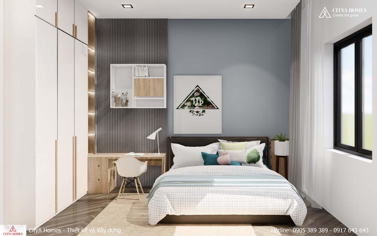 Phòng ngủ với gam màu trắng sáng mang lại sự tươi mới