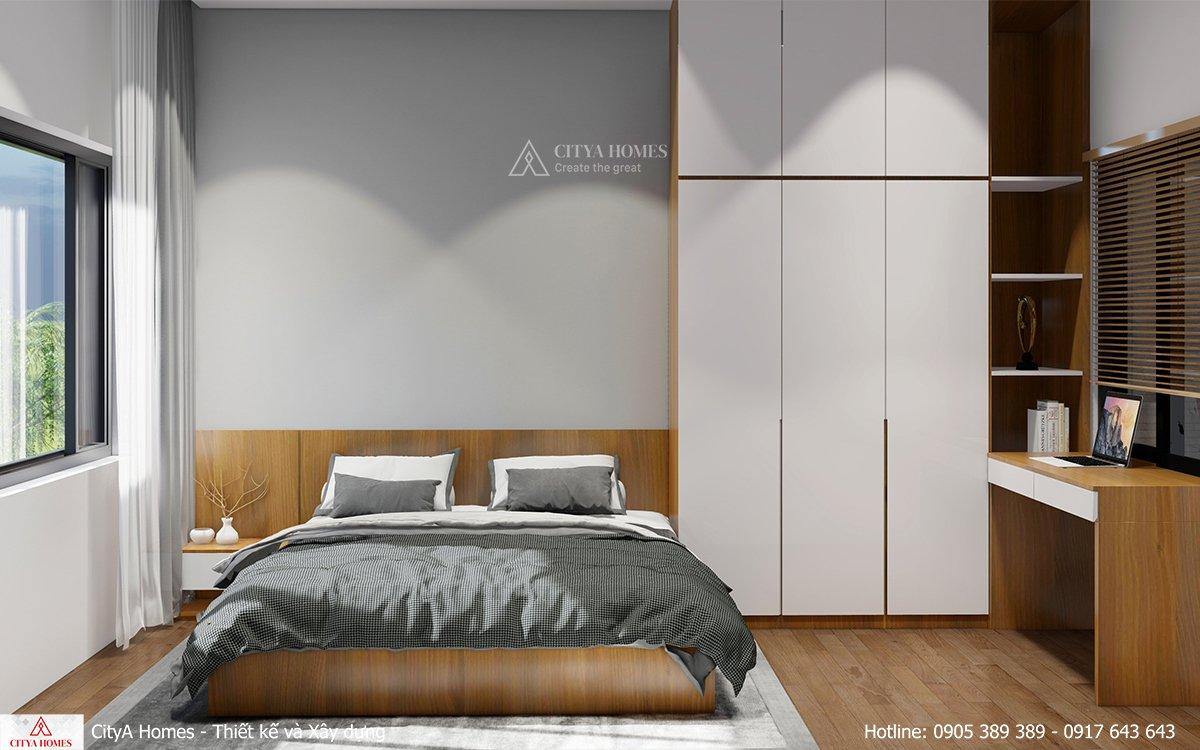 Phòng ngủ với gam màu trung tính, mạnh mẽ